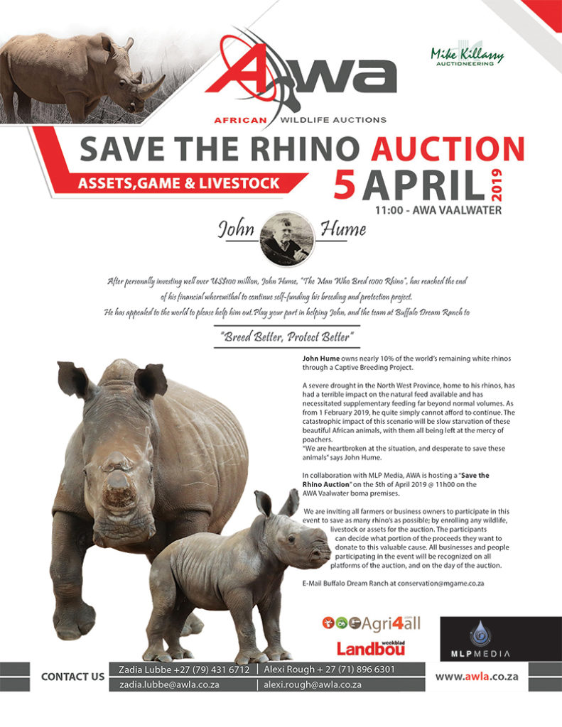 SAVE THE RHINO AUCTION! Auction date changed from 6 to 5